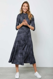 Mint Velvet Blue Animal Jersey Midi Dress