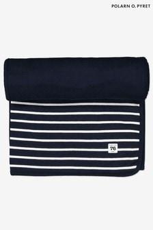 Polarn O. Pyret Blue GOTS Organic Striped Blanket