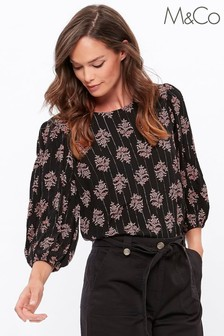 M&Co Black Printed Lurex Top