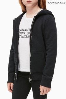 Calvin Klein Jeans Black Logo Tape Full Zip Hoody