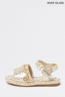 River Island Gold Quilted Chain Sandals