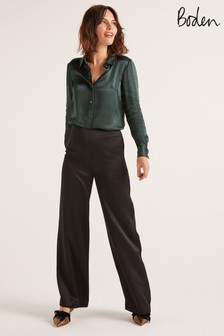 Boden Black Amney Satin Wide Leg Trousers