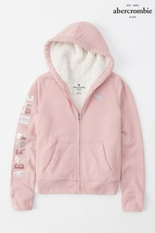 Abercrombie & Fitch Pink Sherpa Hoody