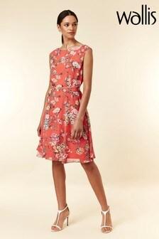 Wallis Coral Floral Print Tie Waist Dress