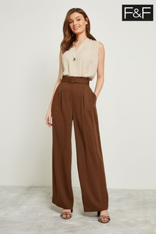 F&F Chocolate Self Belt Wide Leg Trouser