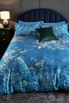 Cotton Sateen Embroidered Midnight Garden Duvet Cover And Pillowcase Set
