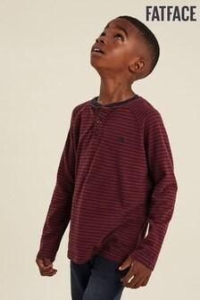FatFace Brown Stripe Henley T-Shirt