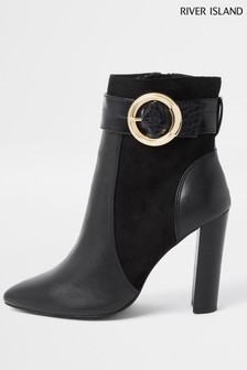 River Island Black Trim Point Toe Boots