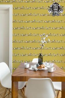 Art For The Home Ochre Fresco Tweeting Wallpaper