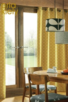 Orla Kiely Acorn Cup Geo Lined Eyelet Curtains