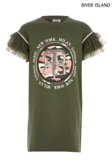 River Island Khaki Mesh Sleeve Graphic T-Shirt