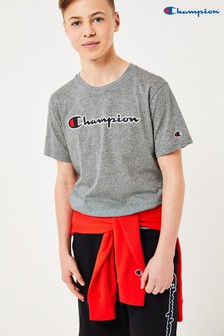 Champion Kids Large Script Logo Crew Neck T-Shirt