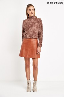 Whistles Rust Leather A-Line Skirt