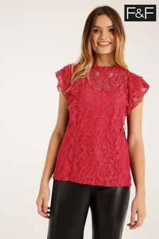 F&F Red Ruffle Lace Top
