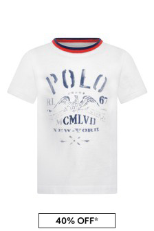 Boys White Cotton Jersey Short Sleeve T-Shirt