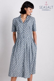 Seasalt Blue Crashing Waves Little Echinacea Dress