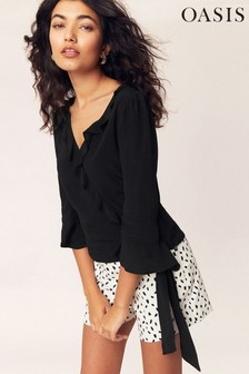 Oasis Black Frill Wrap Top