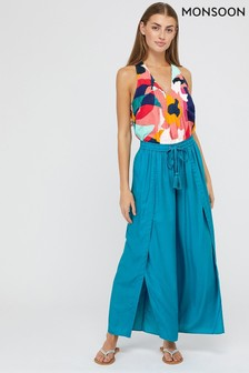 Monsoon Teal Indiana Wide Leg Trousers