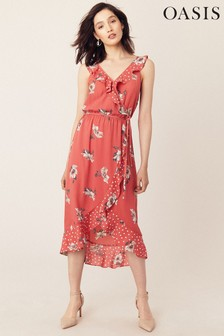 Oasis Orange Ruby Ruffle Midi Dress