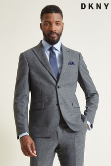 DKNY Grey Slim Fit Charcoal Check Jacket