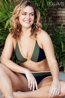 Figleaves Green Colourbolck Underwired Non Pad Halter Bikini Top