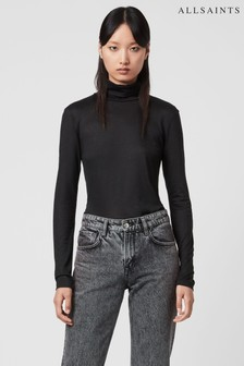 AllSaints Black Gem Sparkle Roll Neck T-Shirt