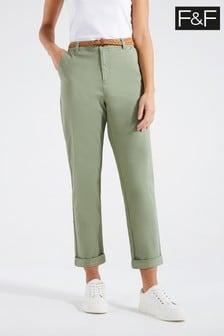F&F Khaki 7/8 Twill Trousers