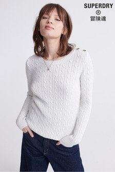 Superdry White Croyden Knitted Jumper