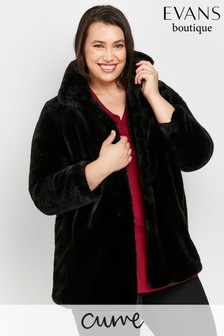 Evans Curve Black Faux Fur Midi Coat