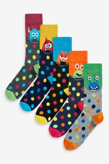 Monster And Spot Socks Five Pack