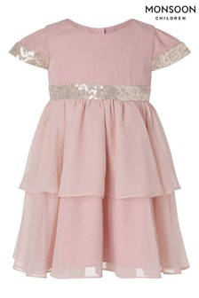 Monsoon Pink Baby Sustainable Pink Tiered Dress