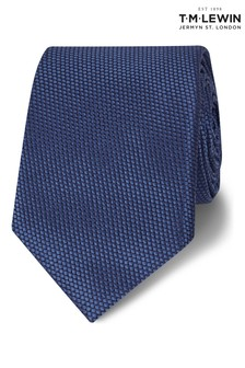 T.M. Lewin Petrol Blue Textured Birdseye Silk Slim Tie