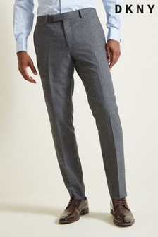DKNY Grey Slim Fit Charcoal Check Trousers