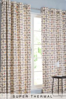 Retro Geo Floral Eyelet Super Thermal Curtains