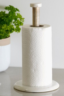 Marble and Wood Kitchen Roll Holder