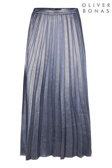 Oliver Bonas Blue Metallic Sparkle Long Pleat Midi Skirt
