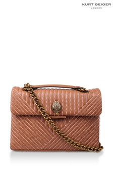 Kurt Geiger London Nude Leather Kensington V Bag