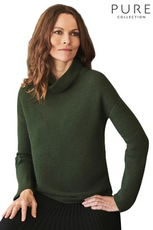 Pure Collection Green Gassato Ribbed Bardot Sweater