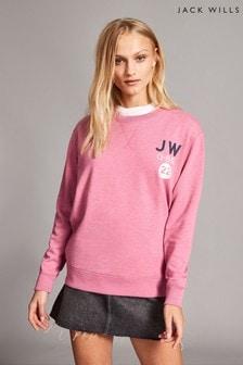 Jack Wills Finch Boyfriend-Top mit Rundhalsausschnitt, pink