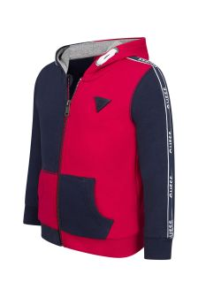 Guess Boys Red Cotton Zip-Up Top