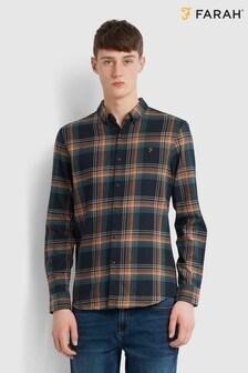 Farah Green Butterfield Long Sleeve Check Shirt