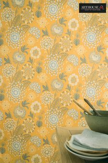 Arthouse Yellow Vintage Bloom Floral Wallpaper