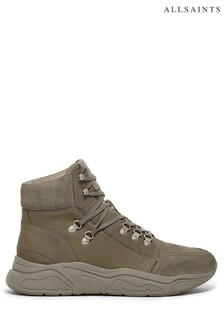 AllSaints Grey Brant High Top Lace Up Nubuck Trainers
