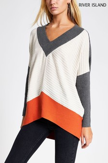 River Island Grey V-Neck Blocked Belle Jumper