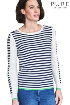 Pure Collection Blue Cashmere Patterned Sweater