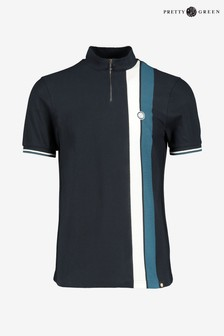 Pretty Green Navy Rourke Zip T-Shirt