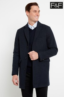 F&F Multi Blue Check Crombie Coat