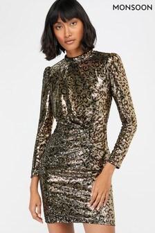 Monsoon Gold Tory Leopard Sequin Short Dress