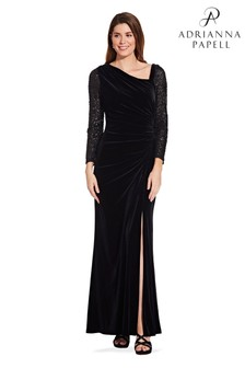 Adrianna Papell Black Velvet And Sequin Gown
