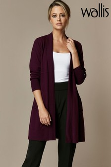 Wallis Petite Raisin Longline Wool Cardigan